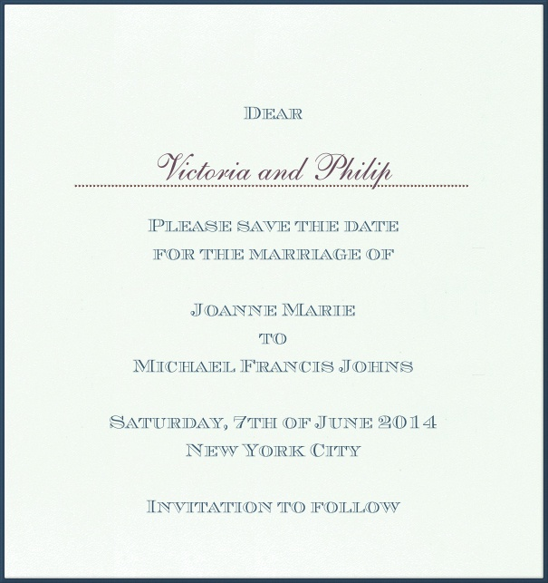 Classic Online Wedding Save the Date high format Card with blue Border.