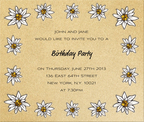 Square Beige invitation card with daisy flowers.
