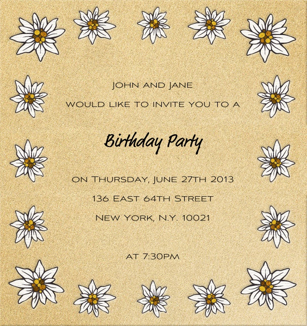 High Format Beige  invitation card with daisy flowers.