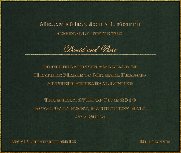 Square Green classic formal themed invitation template with gold text.