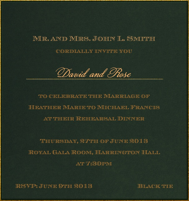 High Format Green classic formal themed invitation template with gold text.
