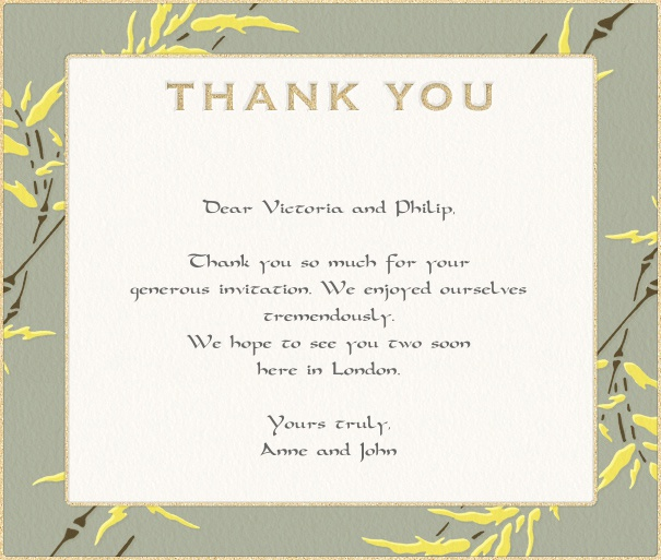 White Thank you card with yellow flowers.