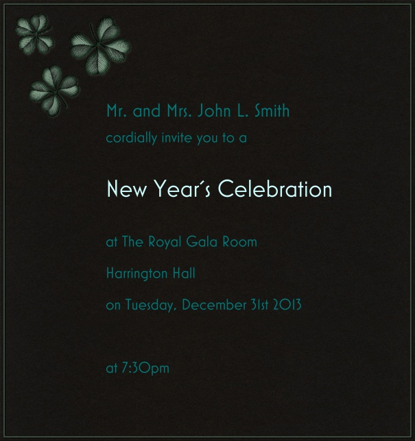 Dark grey celebration high format invitation card with greenish flowers in the top left corner of card.