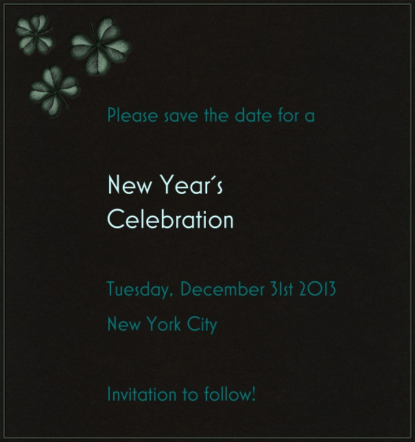 High Black Event Celebration Save the Date Template with New Year's Theme and Fireworks motif.