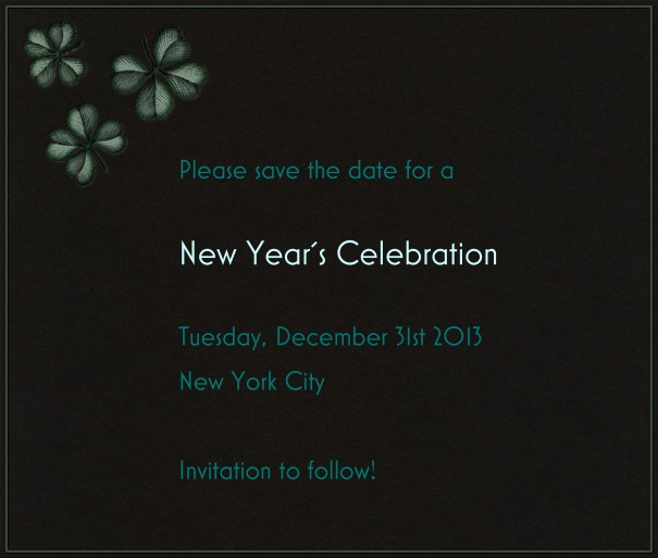 Black Event Celebration Save the Date Template with New Year's Theme and Fireworks motif.