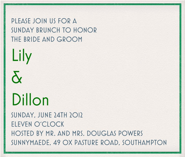White Wedding Online Invitation Card format with green border.