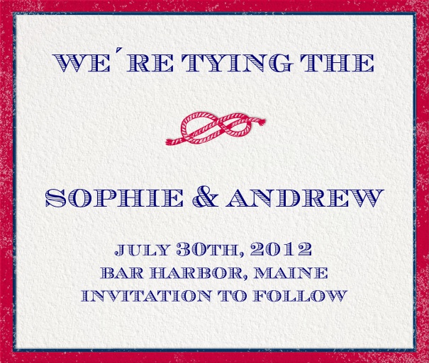 Save the Date Card for wedding announcement with knot image.