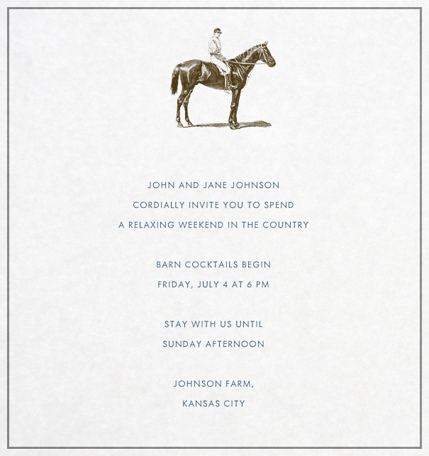 Party Invitation with drawn horse and equestrian.