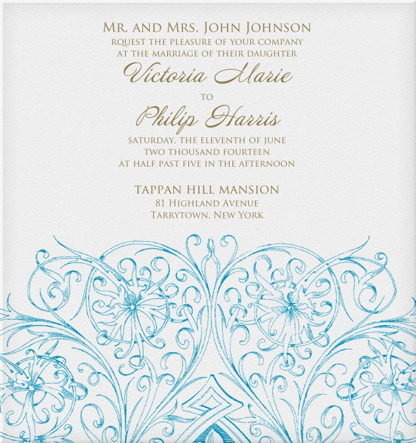 Formal Wedding Invitation template with blue floral design on bottom.