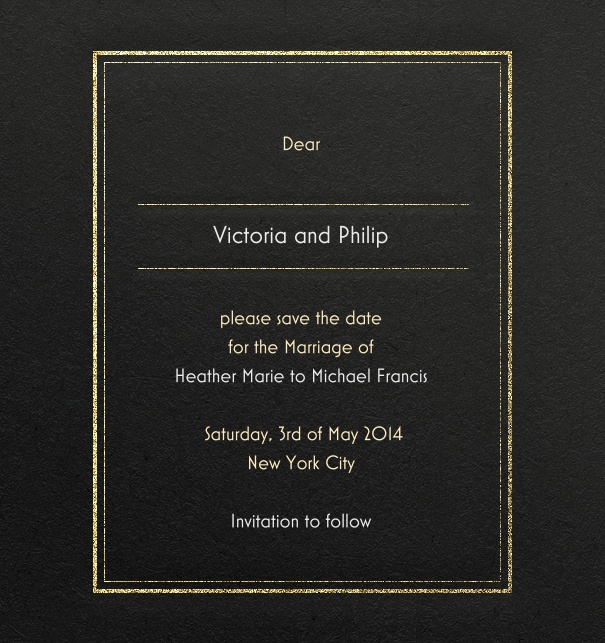 Modern Formal wedding Save the Date Card online in black with gold border.