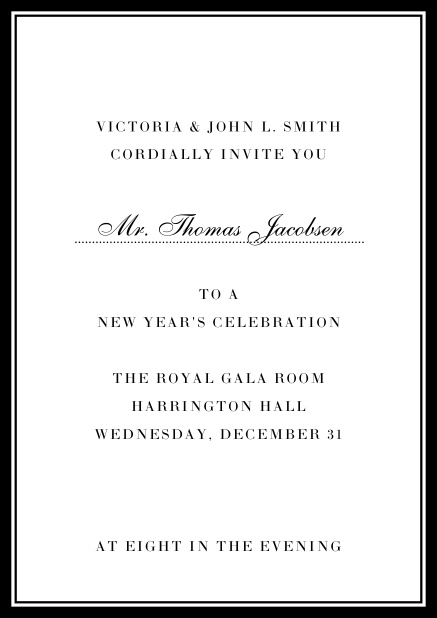 Invitation card with golden, grey frame with dotted line for name of recipient. Black.