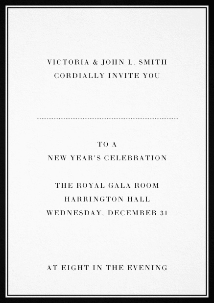 Invitation card with double lined frame and dotted line for name of recipient. Black.