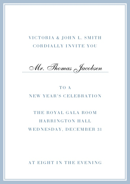 Invitation card with golden, grey frame with dotted line for name of recipient. Blue.