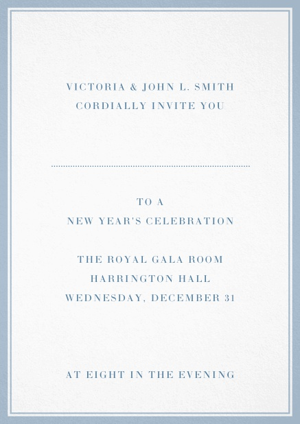 Invitation card with double lined frame and dotted line for name of recipient. Blue.