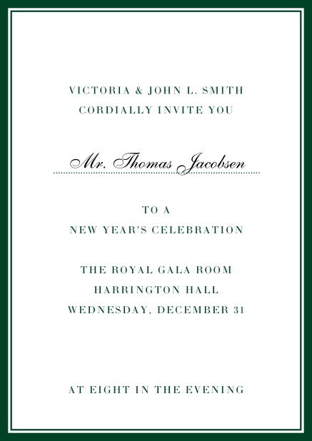 Invitation card with golden, grey frame with dotted line for name of recipient. Green.