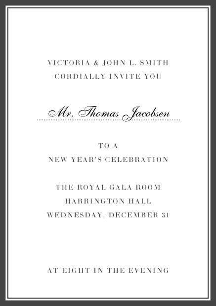 Invitation card with golden, grey frame with dotted line for name of recipient. Grey.