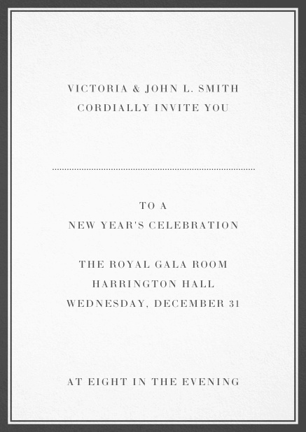 Invitation card with double lined frame and dotted line for name of recipient. Grey.