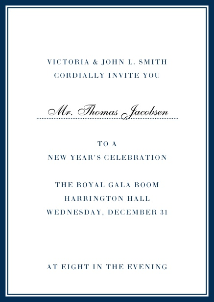 Invitation card with golden, grey frame with dotted line for name of recipient. Navy.