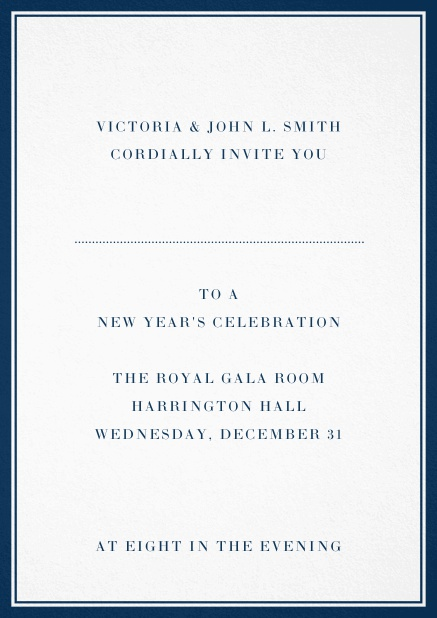 Invitation card with double lined frame and dotted line for name of recipient. Navy.