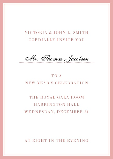Invitation card with golden, grey frame with dotted line for name of recipient. Pink.