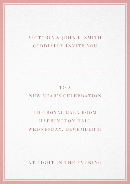 Invitation card with double lined frame and dotted line for name of recipient. Pink.