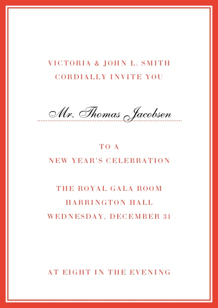 Invitation card with golden, grey frame with dotted line for name of recipient. Red.
