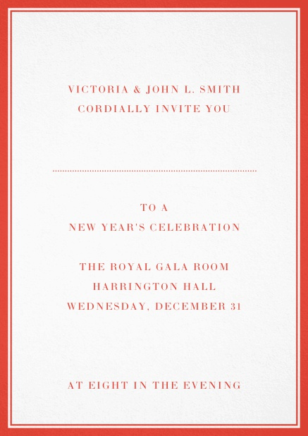 Invitation card with double lined frame and dotted line for name of recipient. Red.