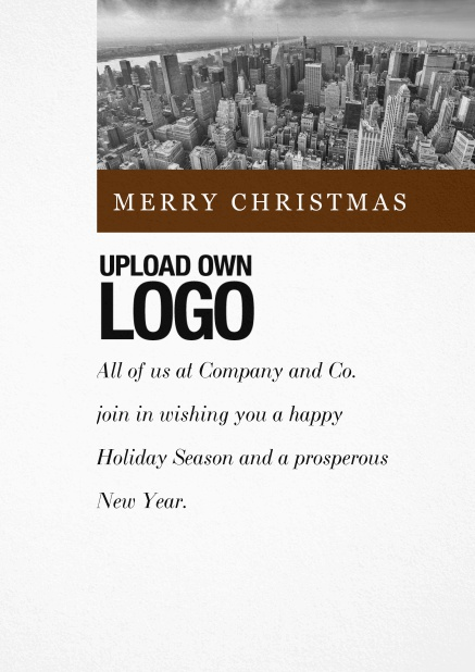 Corporate Christmas card with photo field and own logo option and green text field.. Brown.