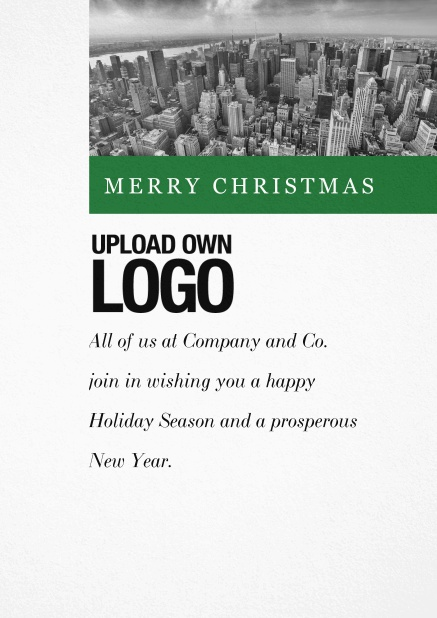 Corporate Christmas card with photo field and own logo option and green text field.. Green.