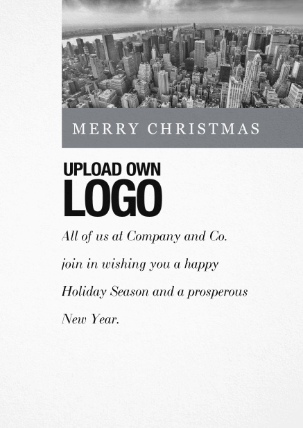 Corporate Christmas card with photo field and own logo option and green text field.. Grey.