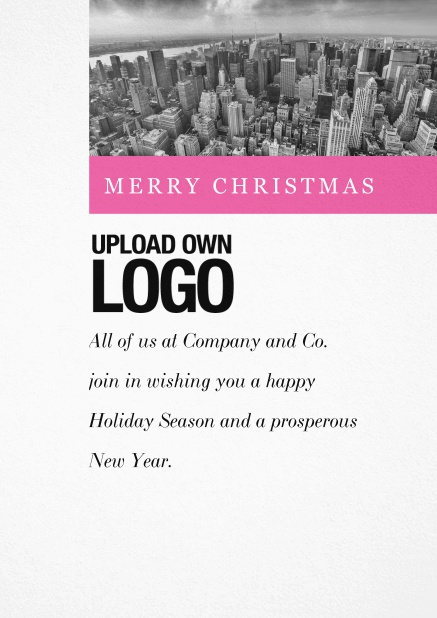 Corporate Christmas card with photo field and own logo option and green text field.. Pink.