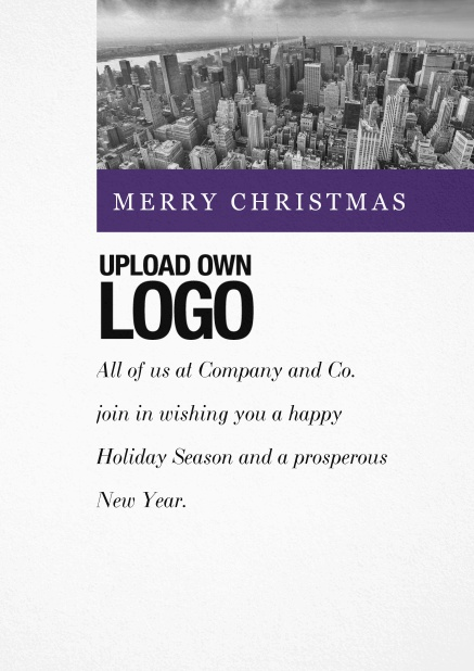 Corporate Christmas card with photo field and own logo option and green text field.. Purple.