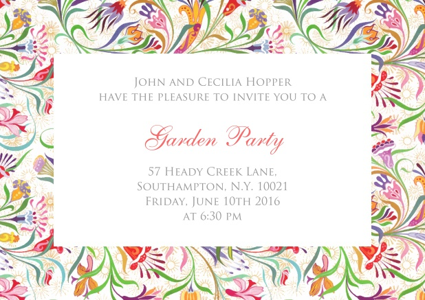 Online Invitation card with colorful flower frame