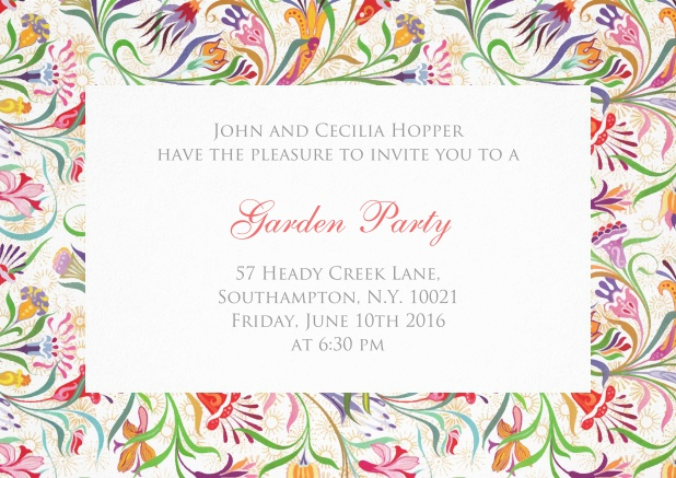 Invitation card with colorful flower frame