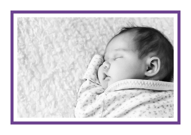 Online Birth announcement with photo box and blue frame. Purple.