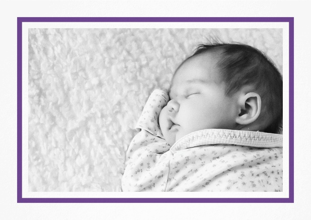 Birth announcement with photo box, blue frame and 2nd page for customizable text. Purple.
