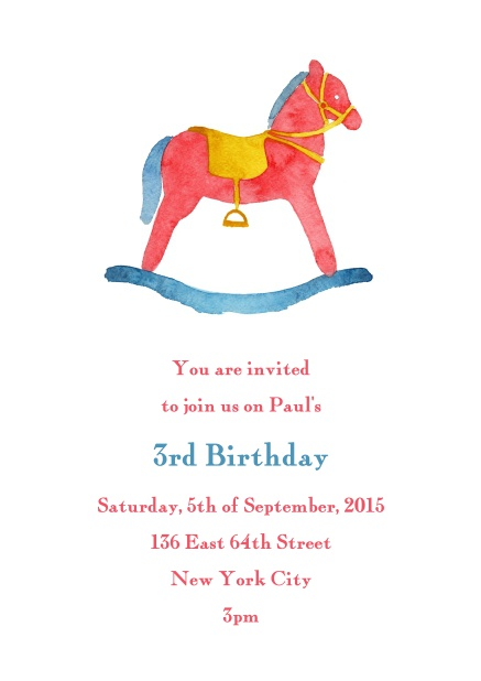 Online Birth Announcement Or Birthday Invitation Card With Colorful Rocking Horse