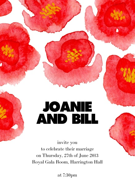 Online wedding invitation card with red flowers.