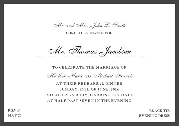 Online classic invitation card with yellow border and dotted line for recipient's name. Black.