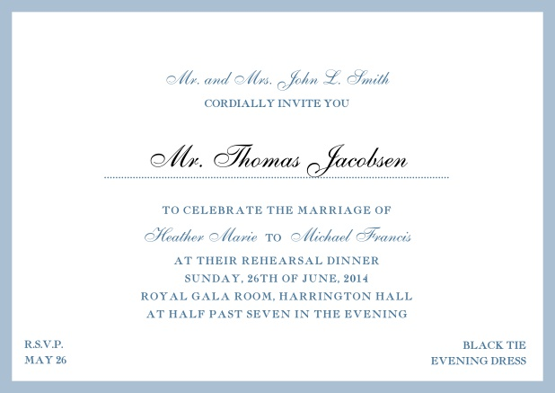 Online classic invitation card with yellow border and dotted line for recipient's name. Blue.