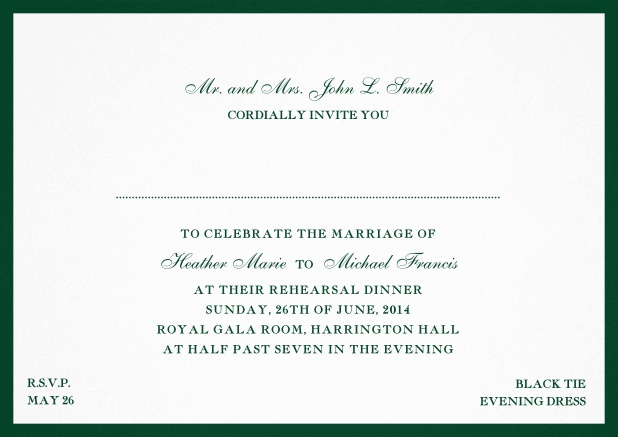Invitation card with frame and font combination - available in different colors. Green.
