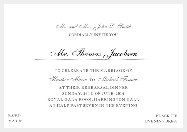 Online classic invitation card with yellow border and dotted line for recipient's name. Grey.