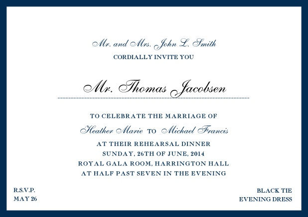 Online classic invitation card with yellow border and dotted line for recipient's name. Navy.