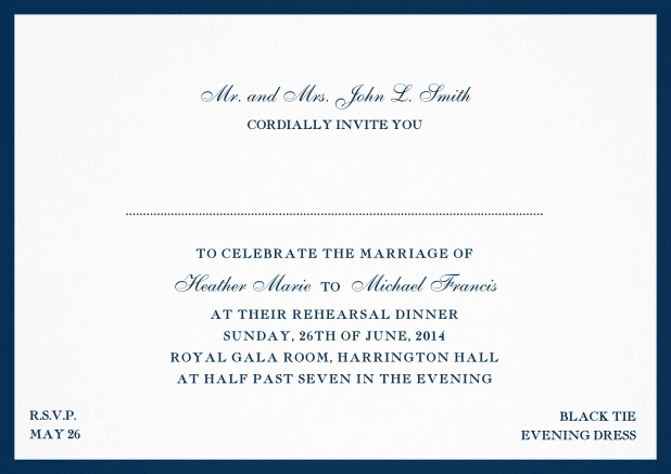 Invitation card with frame and font combination - available in different colors. Navy.