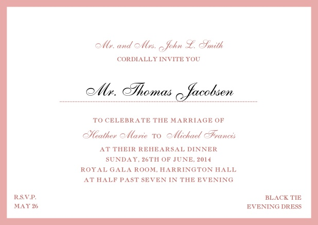 Online classic invitation card with yellow border and dotted line for recipient's name. Pink.