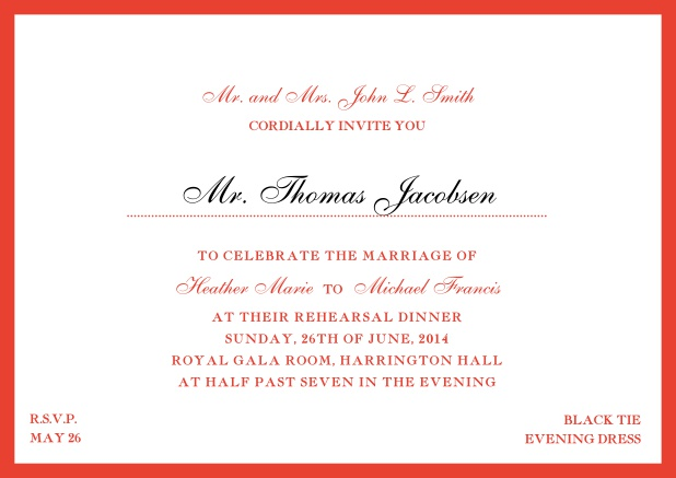 Online classic invitation card with yellow border and dotted line for recipient's name. Red.