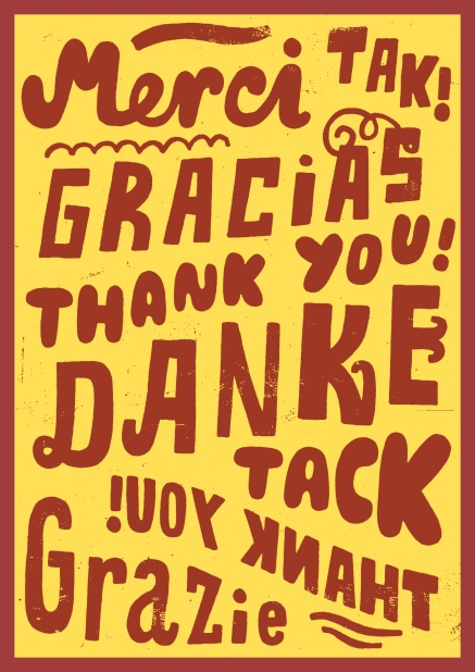 online thank you card with the phrase thank you in different