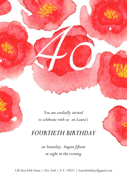 40 flowers for the 40th 40th birthday online invitation with big red flowers on top for 40th birthday filmwisefo