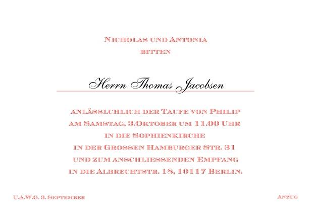 Online Klassische Einladungskarte Zur Taufe Mit Editierbarem Einladungstext  Für Eine Taufeinladung In Verschiedenen Farben. Rot