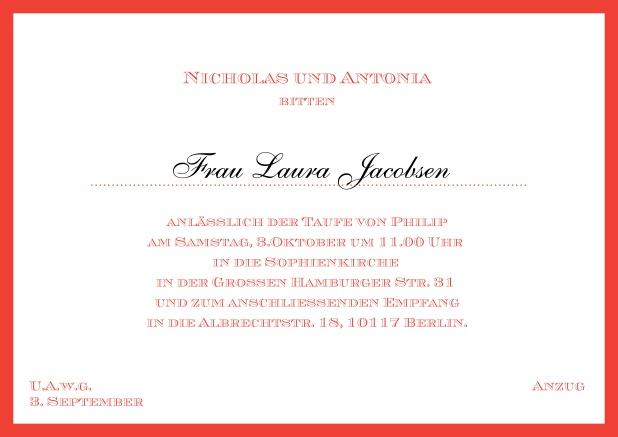 Schön Online Klassische Einladungskarte Zur Taufe Mit Farbigen Rand Und  Editierbarem Einladungstext Für Eine Taufeinladung In Verschiedenen